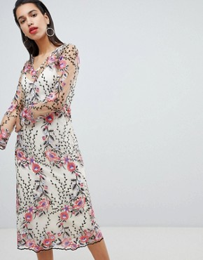 photo Embroidered Floral Midi Dress by Vila, color Multi - Image 1
