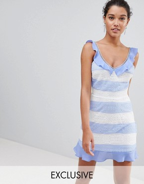 photo Lace Detail Stripe Dress by PrettyLittleThing, color Blue - Image 1