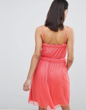 photo Dobby Spot Tulle Dress by Vila, color Spiced Coral - Image 2