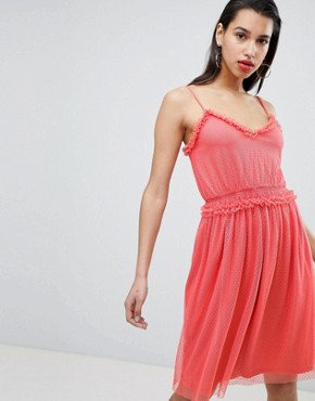photo Dobby Spot Tulle Dress by Vila, color Spiced Coral - Image 1