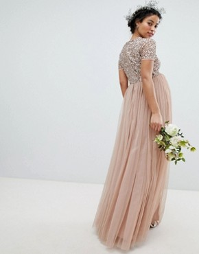 photo V-Neck Maxi Tulle Bridesmaid Dress with Tonal Delicate Sequins by Maya Maternity, color Taupe Blush - Image 2