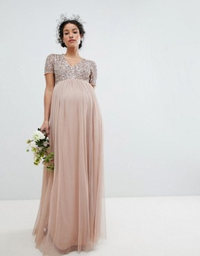 photo V-Neck Maxi Tulle Bridesmaid Dress with Tonal Delicate Sequins by Maya Maternity, color Taupe Blush - Image 1