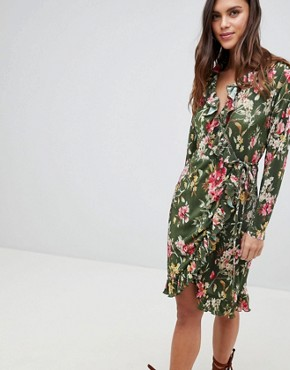 photo Floral Ruffle Wrap Dress by Vila, color Chive Green - Image 1