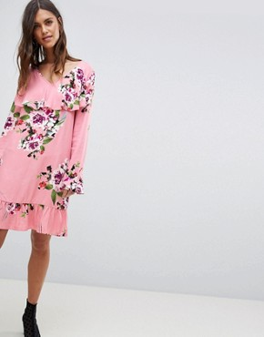 photo Soft Floral Ruffle Midi Dress by Vila, color Bridal Rose - Image 1