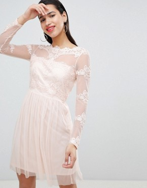 photo Mesh Dress with Lace Inserts by Vila, color Pink - Image 1
