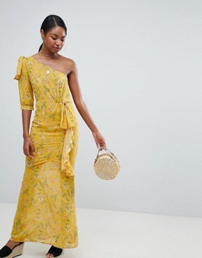 photo One Shoulder Floral Maxi Dress by PrettyLittleThing, color Yellow - Image 1