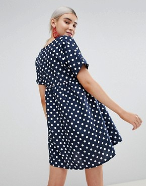 photo Polka Dot Smock Dress by PrettyLittleThing, color Navy - Image 2