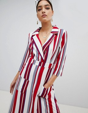 photo Striped Maxi Shirt Dress by PrettyLittleThing, color Red - Image 1