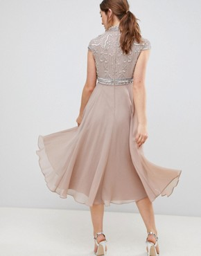 photo Short Sleeve Midi Dress with Heavily Embellished Bodice by ASOS DESIGN Premium, color Mink - Image 2