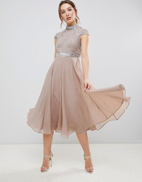 photo Short Sleeve Midi Dress with Heavily Embellished Bodice by ASOS DESIGN Premium, color Mink - Image 1