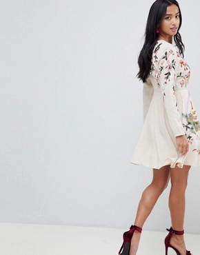 photo Mini Dress with Pretty Floral and Bird Embroidery by ASOS DESIGN Petite, color Nude - Image 2