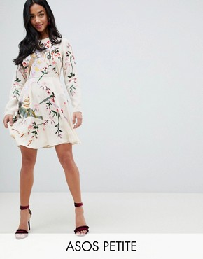 photo Mini Dress with Pretty Floral and Bird Embroidery by ASOS DESIGN Petite, color Nude - Image 1