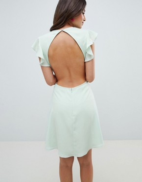 photo Embroidered Skater Mini Dress with Cut Out Sides by ASOS DESIGN, color Pastel Green - Image 2