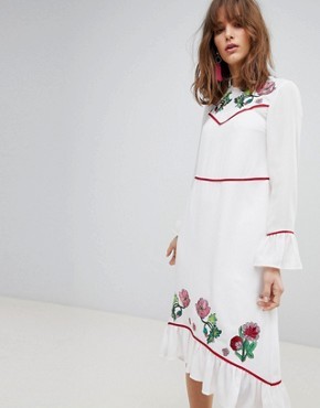 photo Embroidered Yoke Western Midi Dress by ASOS, color Ivory - Image 1