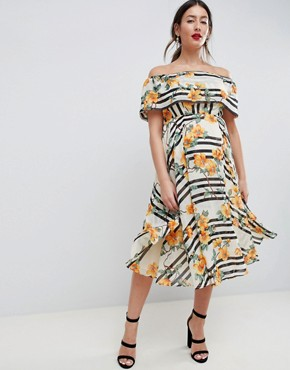 photo Maternity Soft Bandeau Midi Dress in Stripe and Floral Print by ASOS DESIGN, color Multi - Image 1