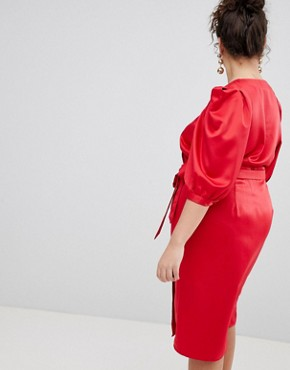 photo Wrap Dress with Tie Detail by ASOS DESIGN Curve, color Red - Image 2
