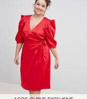 photo Wrap Dress with Tie Detail by ASOS DESIGN Curve, color Red - Image 1