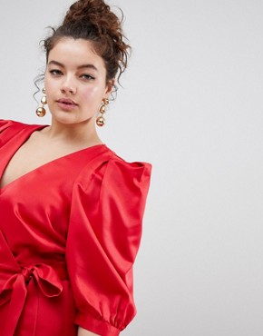 photo Wrap Dress with Tie Detail by ASOS DESIGN Curve, color Red - Image 3
