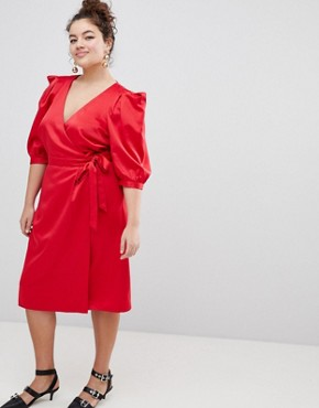 photo Wrap Dress with Tie Detail by ASOS DESIGN Curve, color Red - Image 4