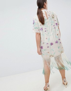 photo Embroidered Midi Dress with Tie Dye Fringe by ASOS DESIGN Curve, color Multi - Image 2