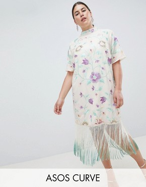 photo Embroidered Midi Dress with Tie Dye Fringe by ASOS DESIGN Curve, color Multi - Image 1