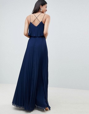 photo Pleated Crop Top Maxi Dress by ASOS DESIGN Tall, color Navy - Image 2