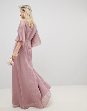 photo Bridesmaid Pleated Panelled Flutter Sleeve Maxi Dress with Lace Inserts by ASOS DESIGN, color Dusty Pink - Image 2