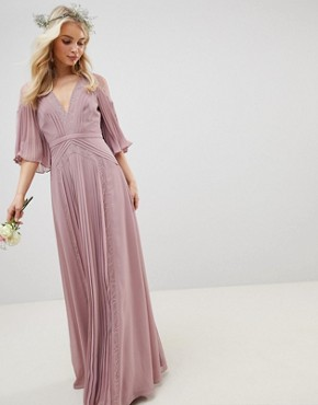 photo Bridesmaid Pleated Panelled Flutter Sleeve Maxi Dress with Lace Inserts by ASOS DESIGN, color Dusty Pink - Image 1