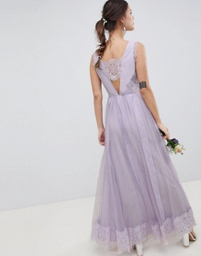 photo Bridesmaid Dobby Mesh and Lace Mix Sleeveless Maxi Dress by ASOS DESIGN, color Lilac - Image 2