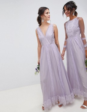 photo Bridesmaid Dobby Mesh and Lace Mix Sleeveless Maxi Dress by ASOS DESIGN, color Lilac - Image 1