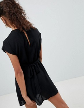 photo Knot Front Dress by New Look Petite, color Black - Image 2