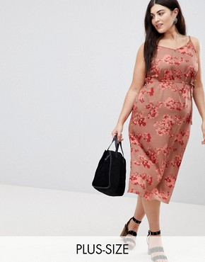 photo Floral Wrap Cami Dress by AX Paris Plus, color Pink Floral - Image 1