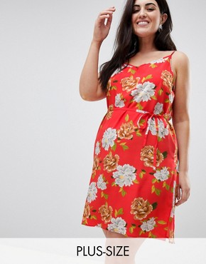 photo Oversize Floral Cami Dress by AX Paris Plus, color Coral Floral - Image 1