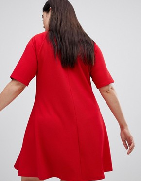 photo High Neck Swing Dress by AX Paris Plus, color Red - Image 2