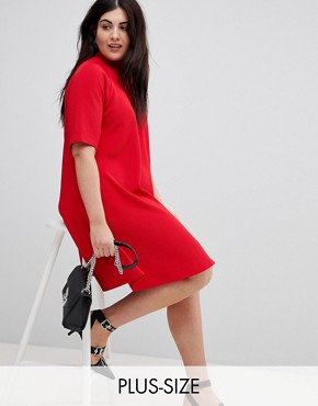 photo High Neck Swing Dress by AX Paris Plus, color Red - Image 1