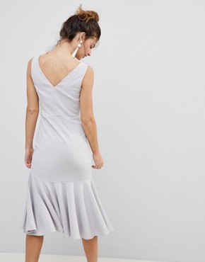photo Midi Dress with Diamante and Pearl Embellished Neck by Little Mistress, color Grey - Image 2
