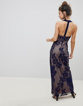 photo Halter Neck Maxi Dress with Baroque Lace Overlay by Little Mistress, color Navy - Image 2
