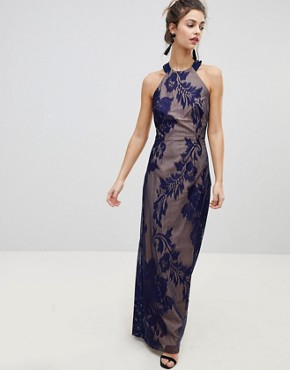 photo Halter Neck Maxi Dress with Baroque Lace Overlay by Little Mistress, color Navy - Image 1