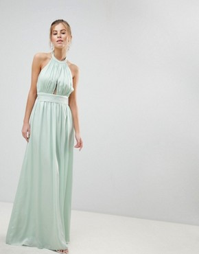 photo Halterneck Maxi Dress by Little Mistress, color Mint - Image 1