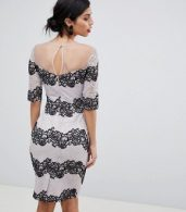 photo Bodycon Dress in Two Tone Lace Stripe by Little Mistress, color Monochrome - Image 2