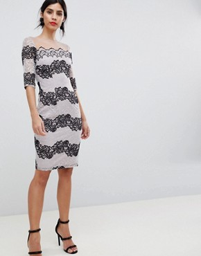 photo Bodycon Dress in Two Tone Lace Stripe by Little Mistress, color Monochrome - Image 4