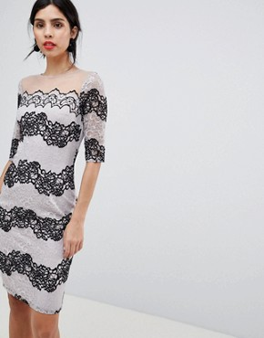photo Bodycon Dress in Two Tone Lace Stripe by Little Mistress, color Monochrome - Image 1