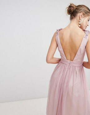 photo Mesh Prom Dress with Floral Applique and Pearl Trim by Little Mistress, color Blush - Image 2