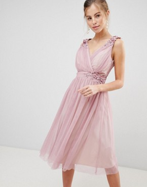 photo Mesh Prom Dress with Floral Applique and Pearl Trim by Little Mistress, color Blush - Image 1