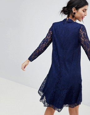 photo Lace Shift Dress with Fluted Hem by Little Mistress, color Navy - Image 2