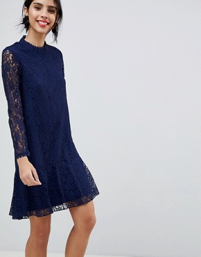 photo Lace Shift Dress with Fluted Hem by Little Mistress, color Navy - Image 1
