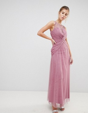 photo Knot Waist Maxi Dress by Little Mistress, color Rose - Image 1