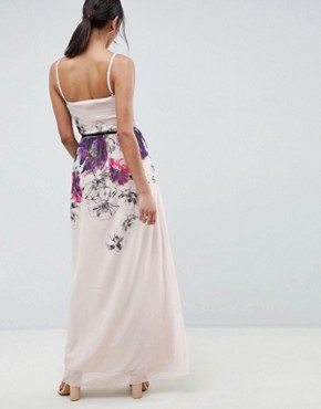 photo Cami Maxi Dress in Floral Placement Print with Belted Waist by Little Mistress, color Print - Image 2