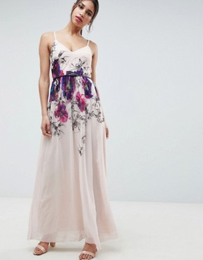 photo Cami Maxi Dress in Floral Placement Print with Belted Waist by Little Mistress, color Print - Image 1