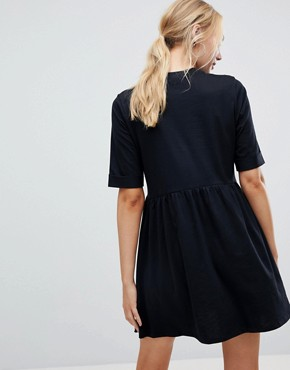 photo Mini Ultimate Cotton Smock Dress by ASOS TALL, color Black - Image 2